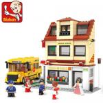 Schule (Mittelschule) mit Schulbus, 496 Teile